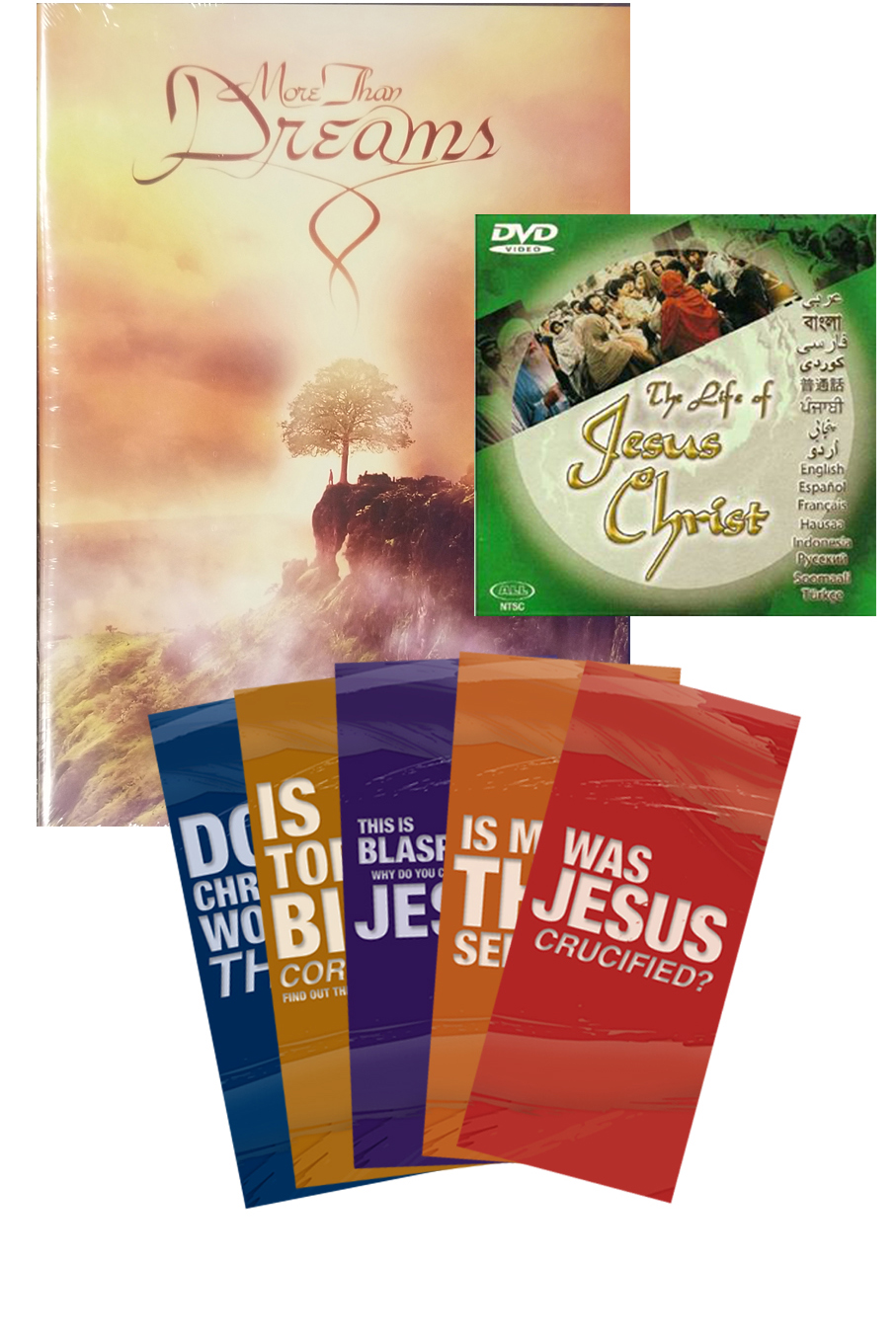 More Than Dreams DVD + The Jesus Film + FIVE Apologetics Pamphlets